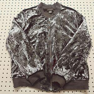 Sans Souci Silver Velvet Bomber Jacket, Size M